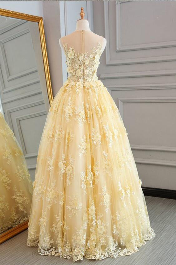 A-line jewel sleeveless applique prom dress for sweet 16