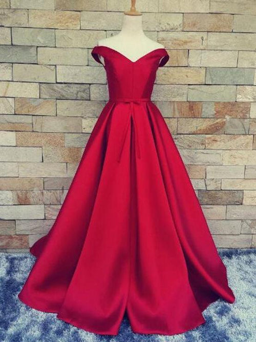 A-line off the shoulder taffeta red prom dress with bowknot belt