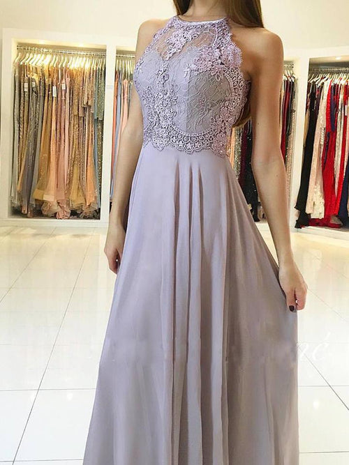 03134e7a2a7 A-line jewel sleeveless lace chiffon grey girl prom dress