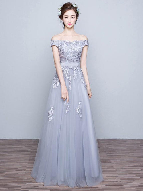 4b8cd971ebc A-line off the shoulder appliqued tulle grey prom dress with sash