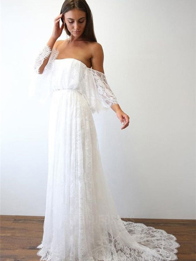 569ddc576a A-line off the shoulder casual boho lace wedding dress with sweep train