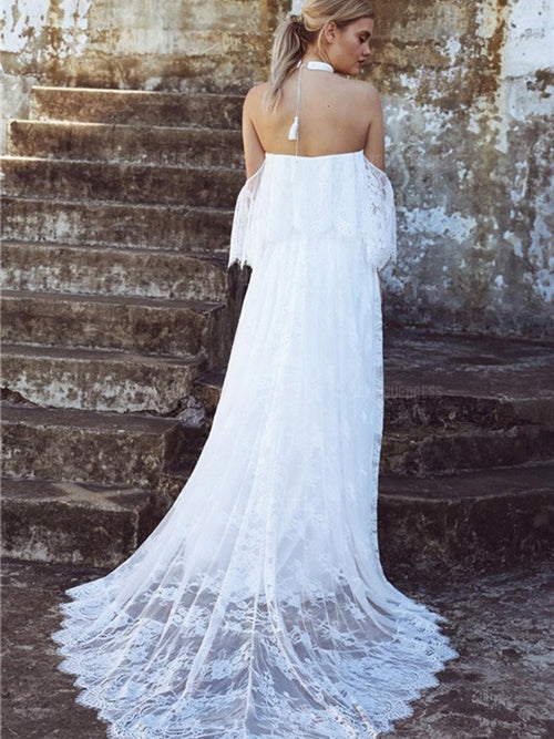 A-line off the shoulder casual boho lace wedding dress with sweep train
