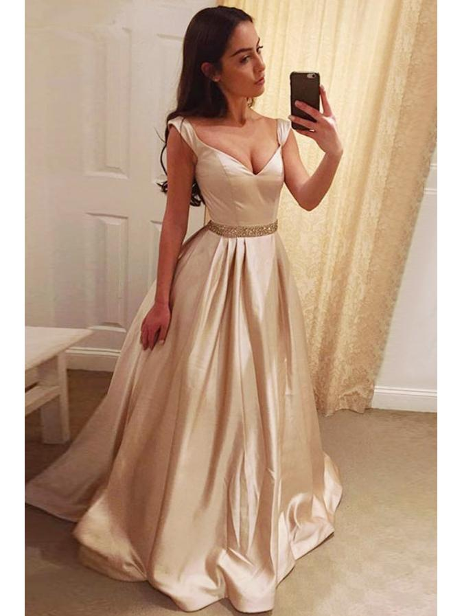 A-line off the shoulder champagne simple prom dress new fashion