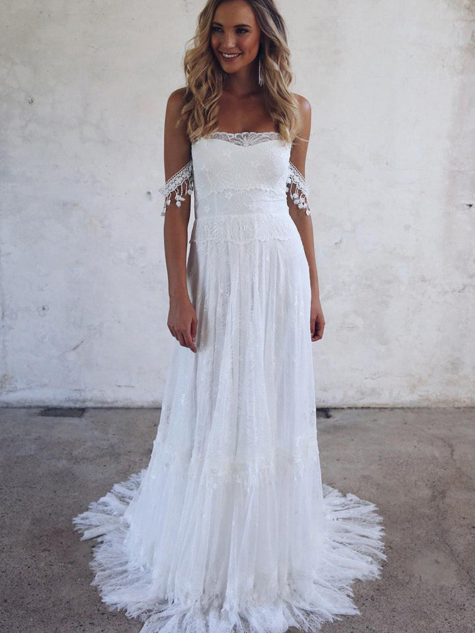 A-line off the shoulder lace beach wedding dress with tassel