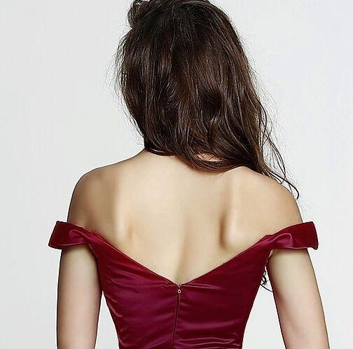 A-line off the shoulder taffeta red affordable prom dress