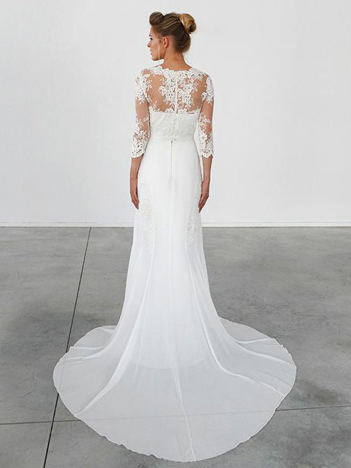 A-line round neck half-sleeves elegent chiffon wedding dress with sweep train