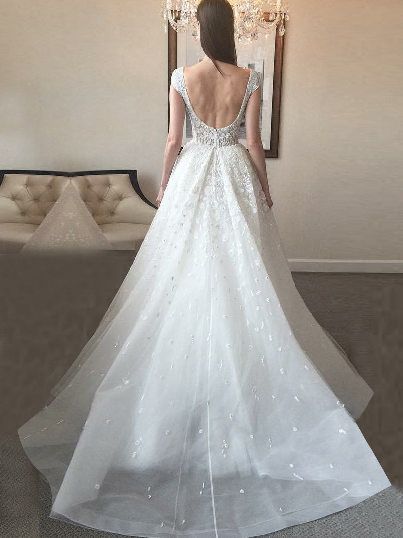 A-line scoop cap sleeves appliqued beading organza wedding dress