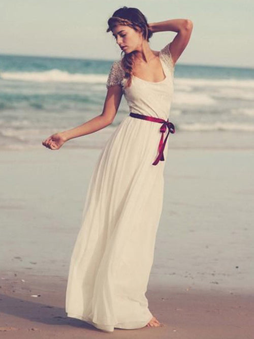 A-line scoop short sleeves chiffon beach wedding dress with sash
