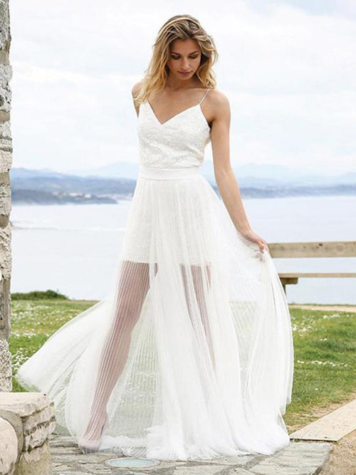 A-line spaghetti straps appliqued pleated see through wedding dress
