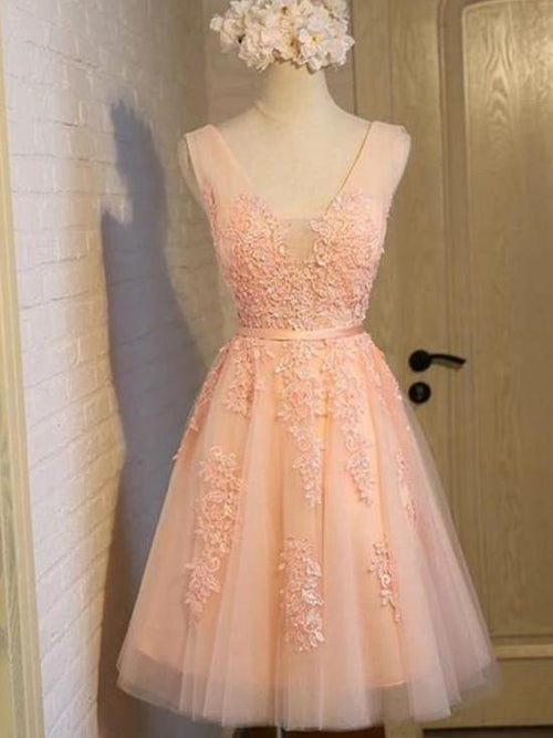 A-line square applique lovely pink short prom dress