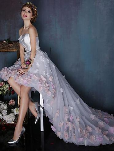 A-line strapless high-low prom dress with handmade flowers