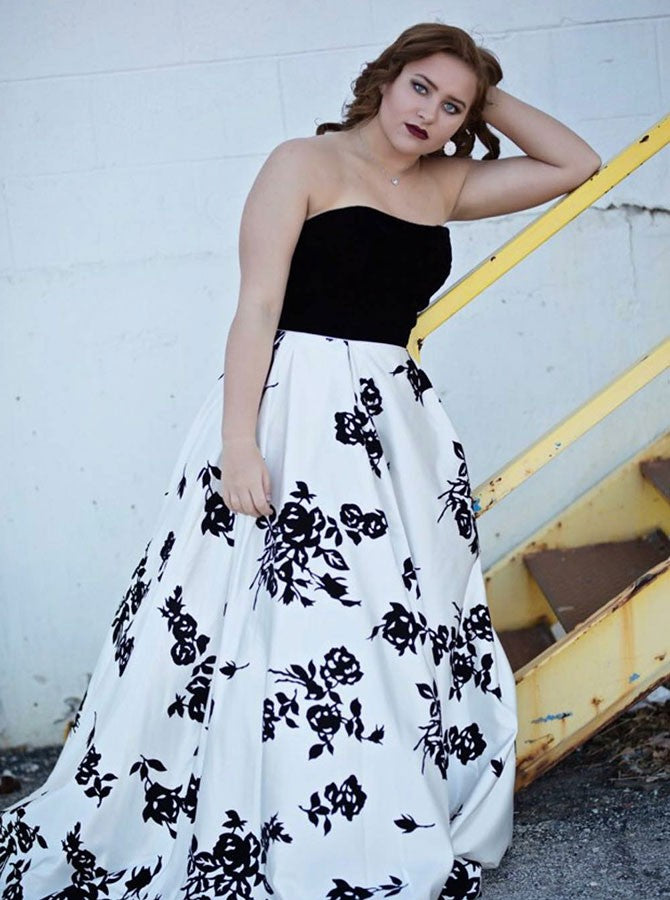 A-line strapless printed taffeta plus size prom dress – ayanagown