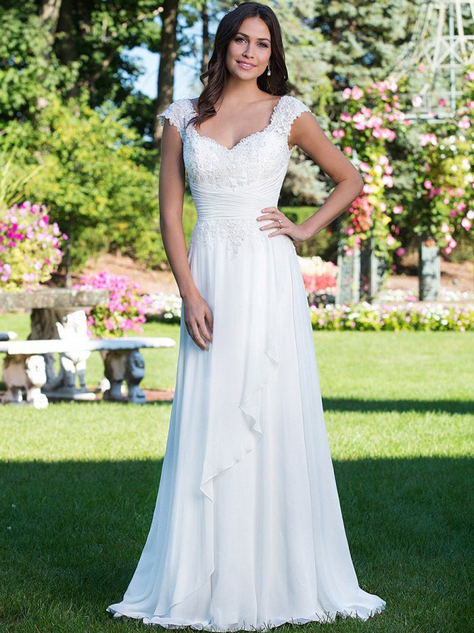 A Line Sweetheart Cap Sleeves Appliqued Empire Waist Wedding Dress Ayanagown