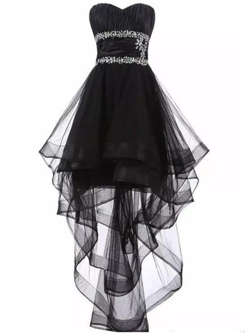 A-line sweetheart empire waistline crystal high low little black dress