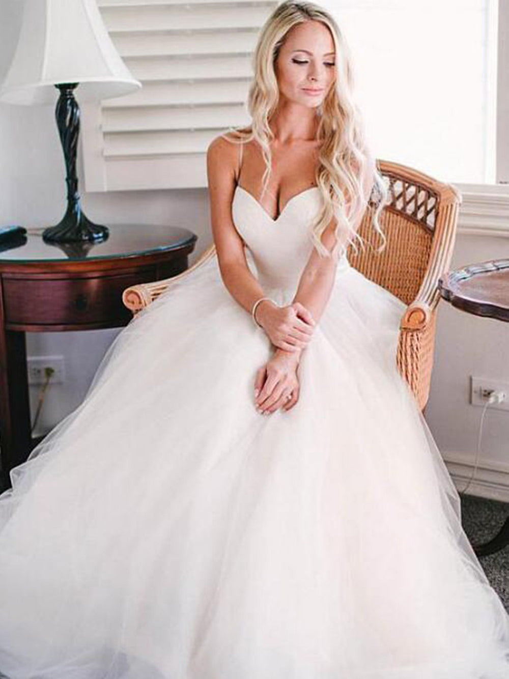 A-line spaghetti straps sweep train wedding dress with sash