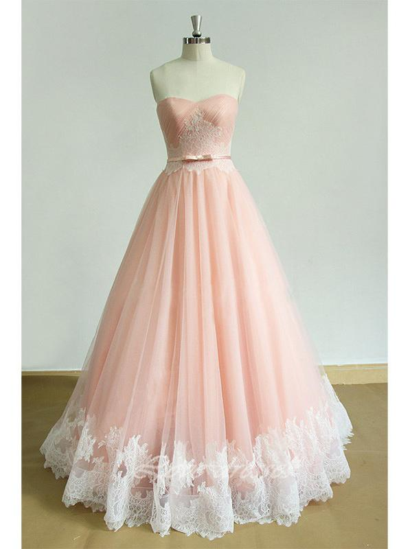 A-line sweetheart pleated lace appliqued pink princess prom dress