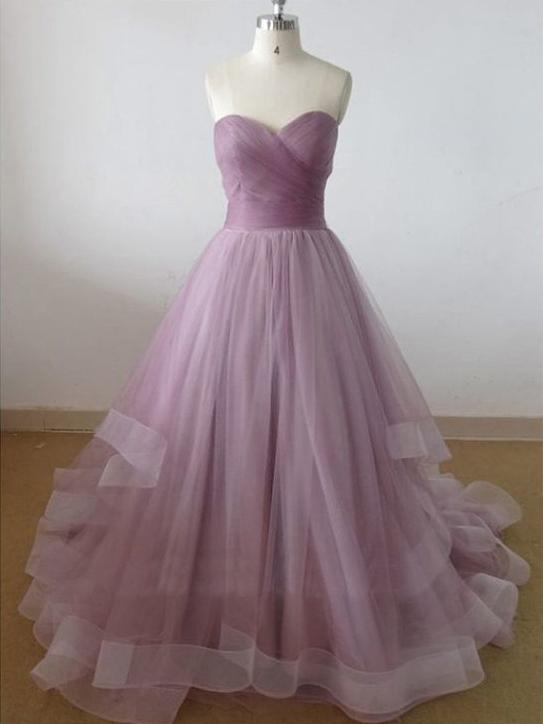 A-line sweetheart pleated pink prom dress with chapel train