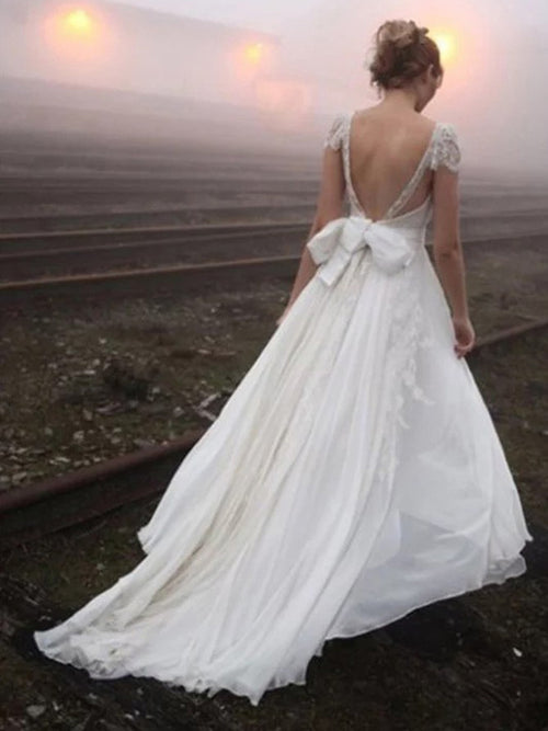 A-line v-neck cap sleeves sexy backless princess kate wedding dress with bowknot