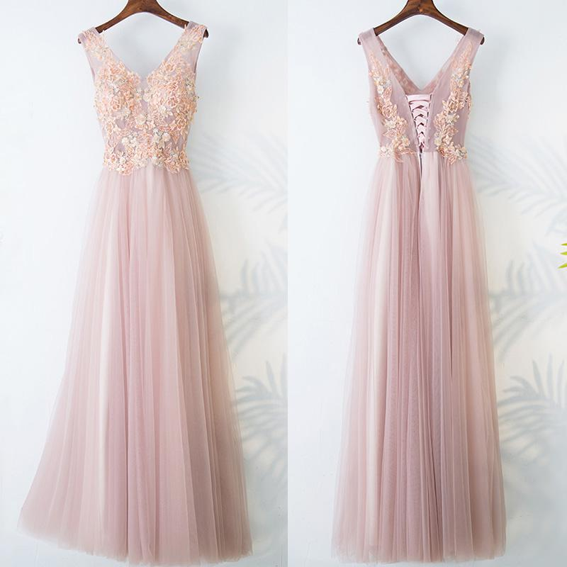 A-line v-neck embroidery applique pink prom dress