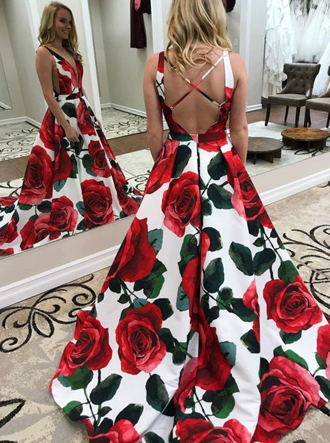 A-line v-neck printing flower backless affordable prom gown