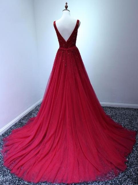 A-line v-neck sleeveless beading red tulle prom gowns