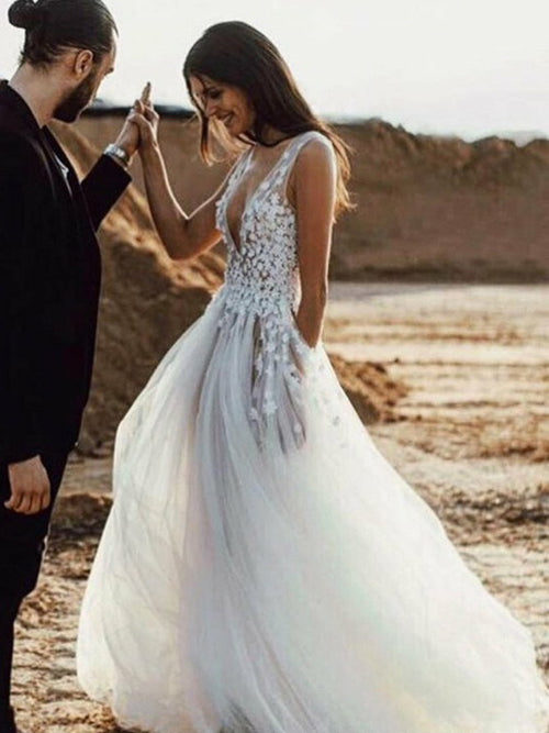A-line v-neck sleeveless flowers sheer sexy beach wedding dress