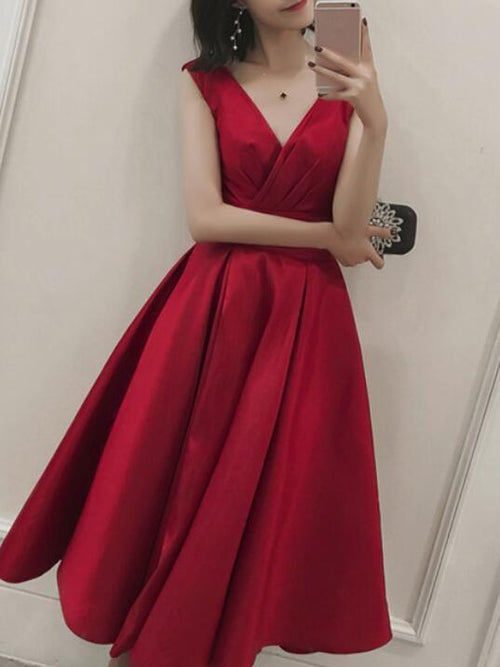 A-line v-neck taffeta tea-length prom dress