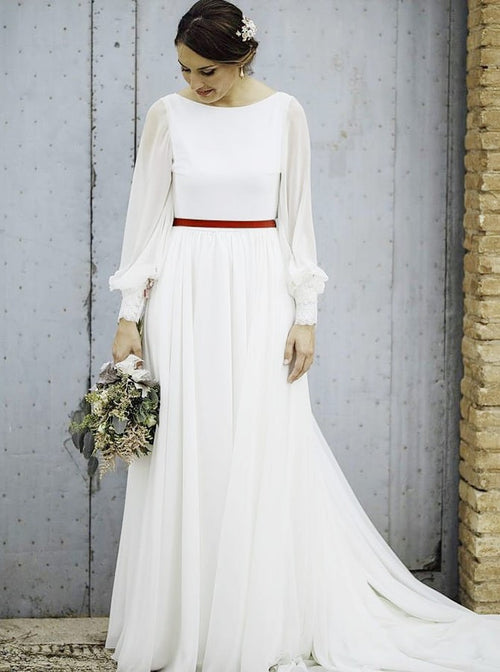 A-line bateau long sleeves backless chiffon elegant wedding dress