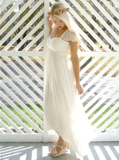 A-line cap sleeves pleated empire waist maternity wedding dress