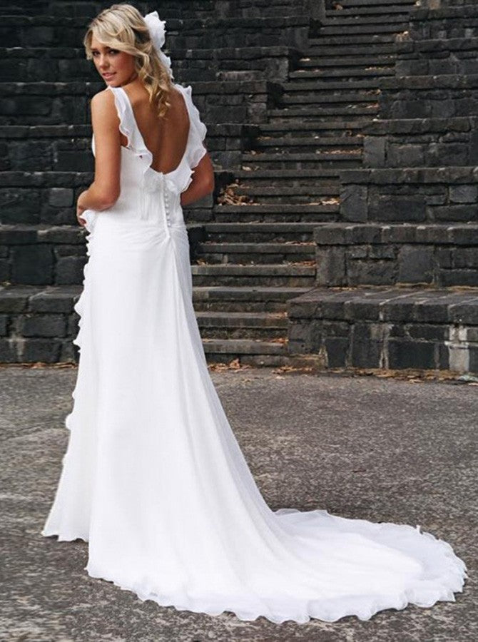 A-line falbala v-neck sexy wedding dress with chapel train