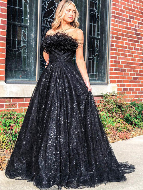 A-line feather strapless sequin tulle prom dress