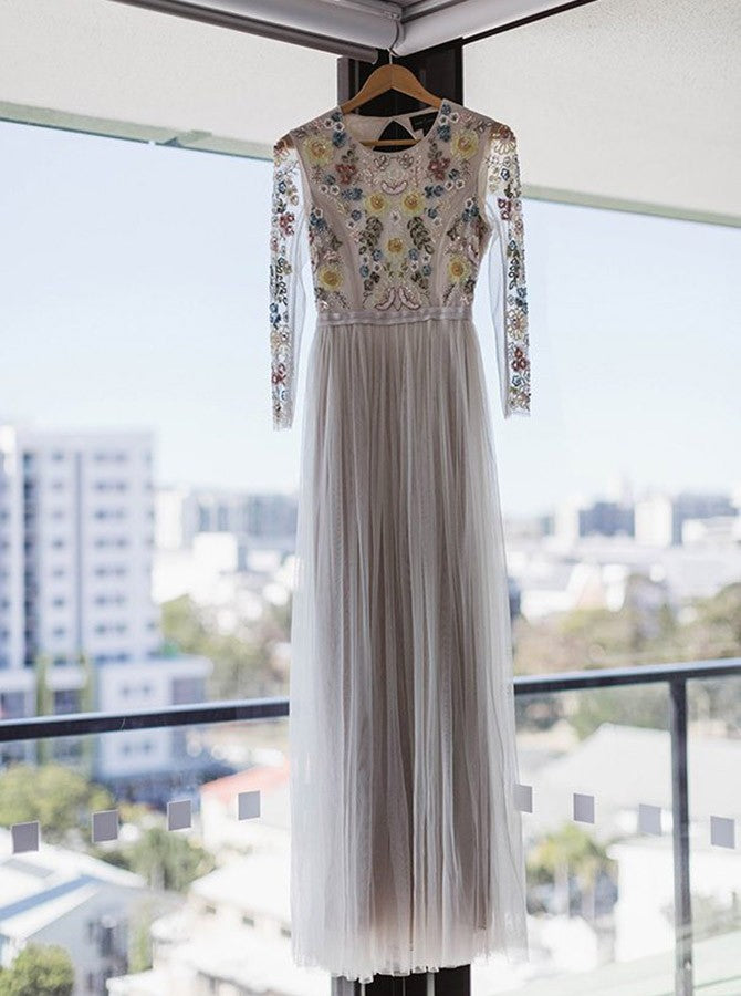 A-line jewel long sleeves backless embroidery wedding dress