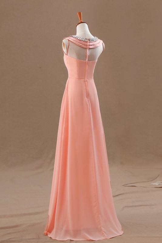 A-line layered jewel sleeveless crystal bridesmaid dress
