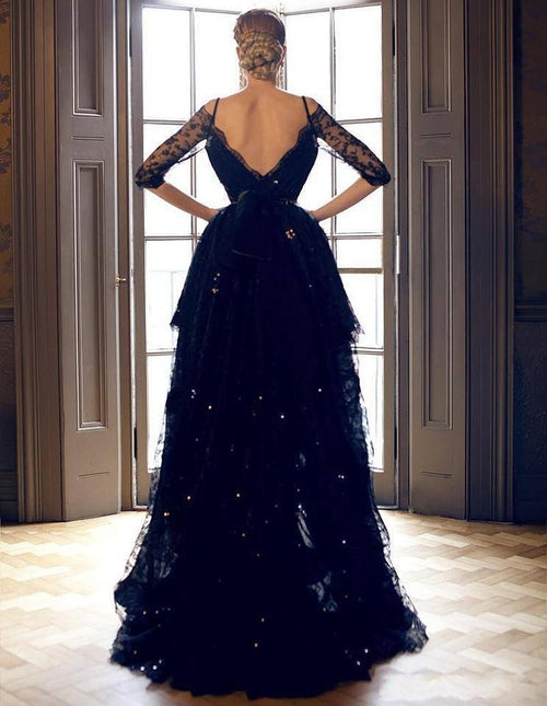 A-line off the shoulder half sleeves high-low prom dress