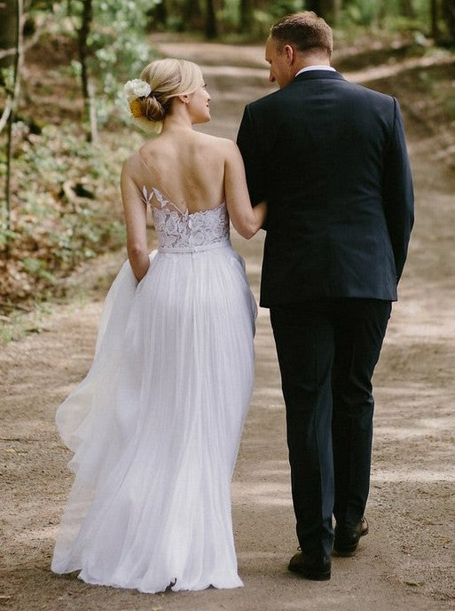 A-line one shoulder tulle wedding dress with embroidery leaves