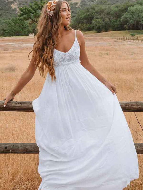 A-line spaghetti straps embroidery backless maternity wedding dress