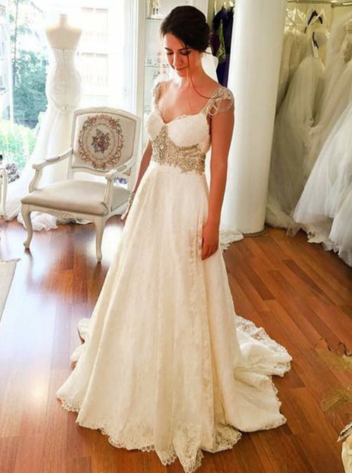 A-line straps champagne crystal lace wedding dress with chapel train