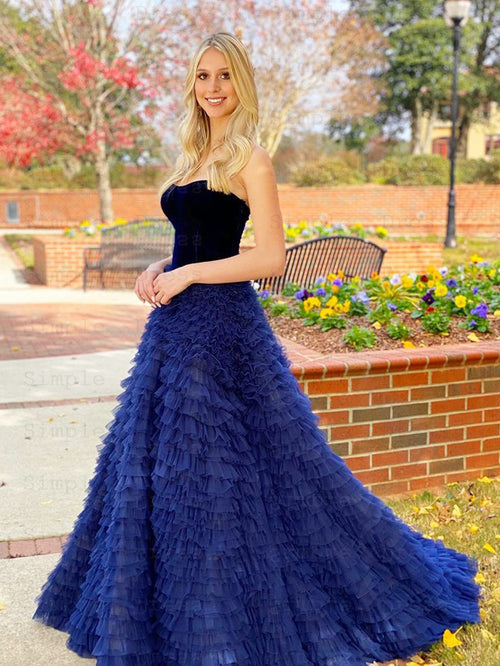 A-line sweetheart strapless velvet multi-layered prom dress