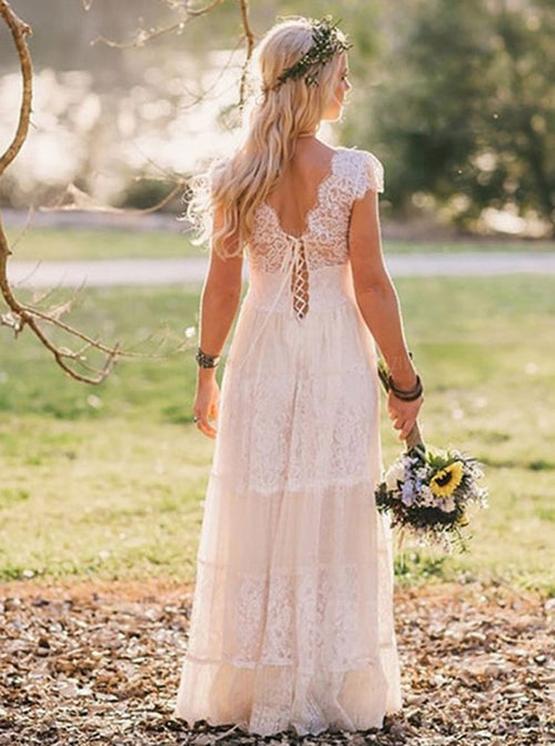 A-line v-neck cap sleeves bohemian style beach wedding dress