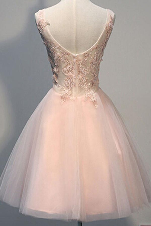 A-line v-neck sleeveless applique pink prom bridesmaid dress