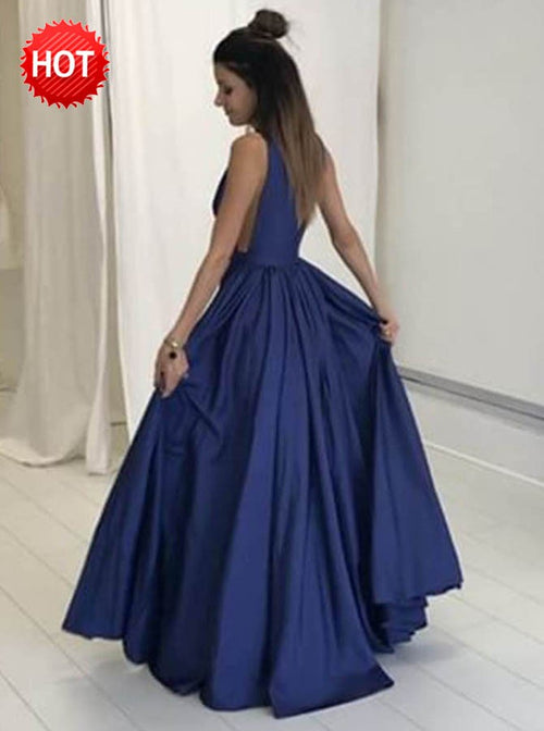 A line deep v-neck sexy floor length evening prom dress