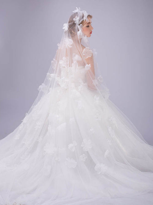 Allover flowers cathedral length romantic long bridal veil