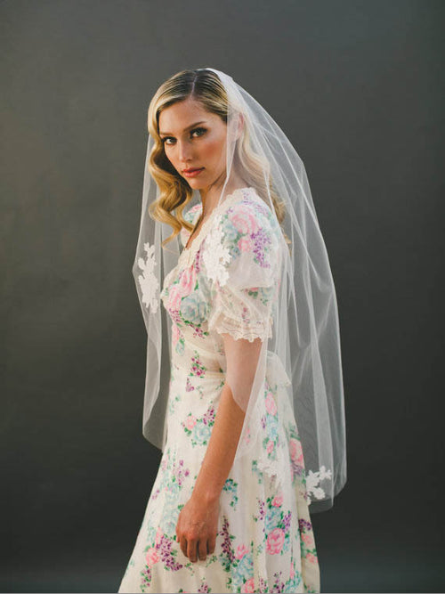 Appliqued single-tier raw cut tulle wedding bridal veil