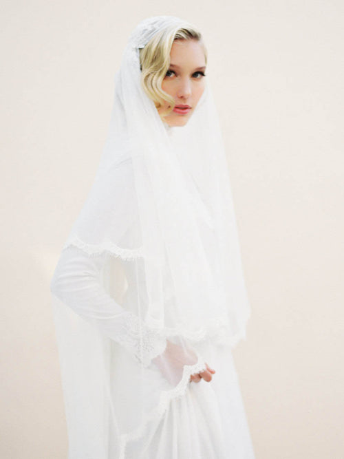 Arabesque two-tier ankle length lace edge wedding veil