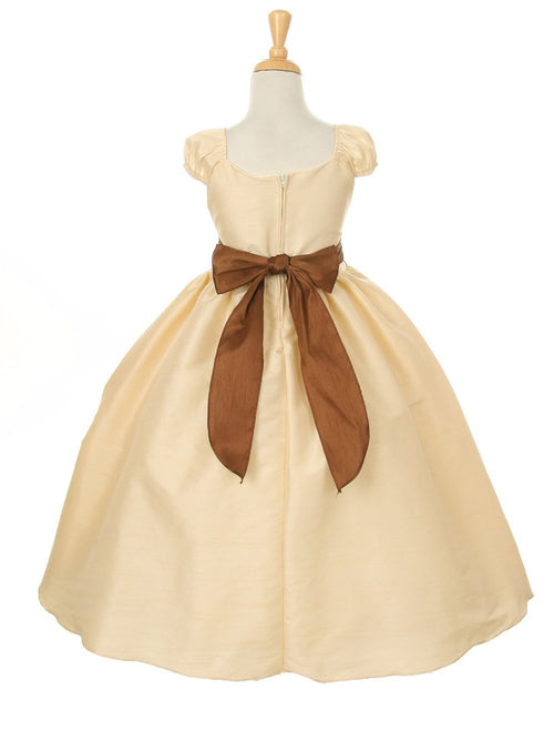 Ball gown scoop neckline short sleeves floor length flower girl dress with big bowknot