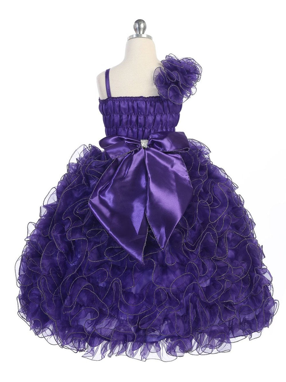 Ball gown spaghetti straps sequins organza colored flower girl dress