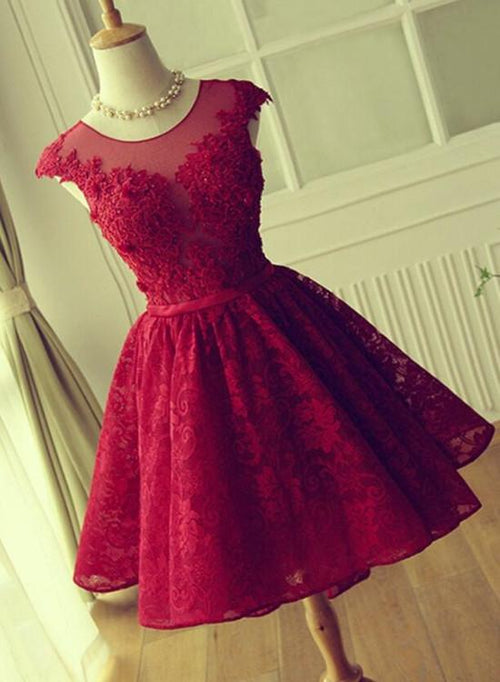 Bateau cap sleeves applique red short prom dress with keyhole back