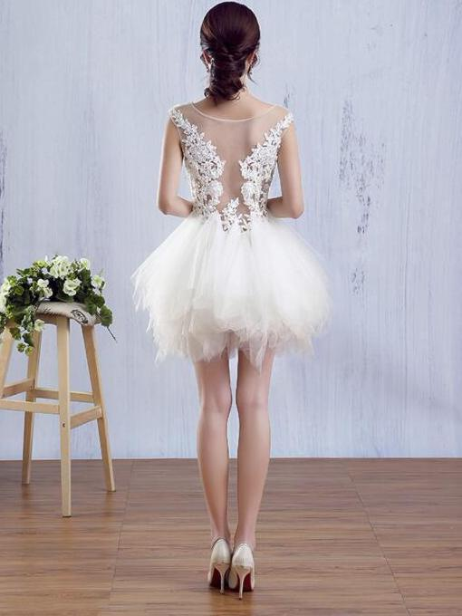 Bateau cap sleeves transparent short homecoming dress with applique