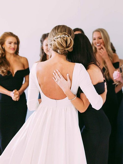 Bateau half sleeves backless jersey a-line maternity wedding dress