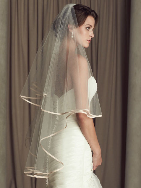 Bridal tulle champagne edge two-tier fingertip length drop veil